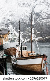 Fishing boats at harbor, Norway