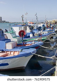 fishing boats at harbor of Trapani, Sicily, Italy