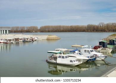 Fishing boats in the harbor of Vukovar, Croatia, on the Danube river