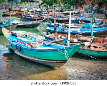 Fishing boats in the harbour with blue sky. Beautiful landscape and seascape of the traditional fisherman and nature.