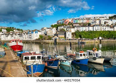 Fishing boats in the harbour at Brixham on the south coast of Devon in the Torbay district