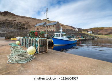 Fishing boats in the harbour at Lybster on the east coast of Scotland