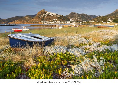 Fishing boats in a harbour near Molos village on Skyros island, Greece.