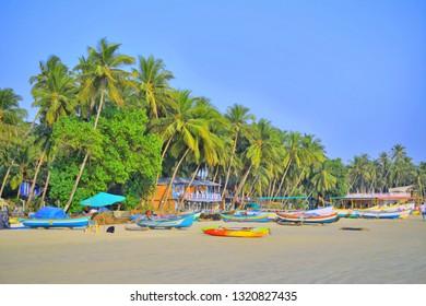 Fishing boats kept in Palolem beach in Goa.