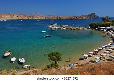 Fishing boats in Lindos Bay, Rhodes