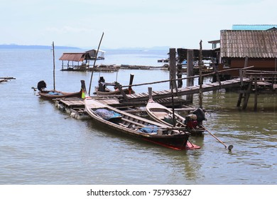 Fishing boats of local fishermen by the sea in Phang Nga province, Thailand.