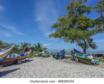 Fishing boats at Luak Bay, Miri, Sarawak, East Malaysia