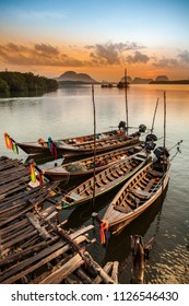 Fishing boats made of wood in Thailand