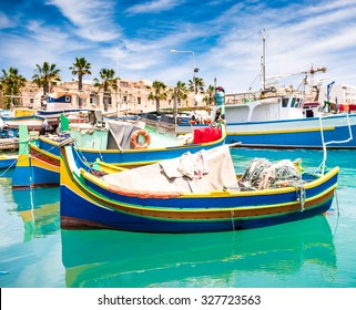Fishing boats in Marsaxlokk harbor. Malta