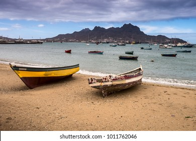 Fishing boats in Mindelo on the Sao Vicente islandin Cape Verde - Republic of Cabo Verde