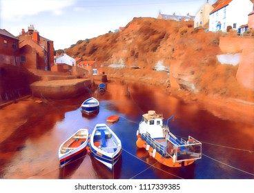 Fishing boats moored in the beck, close to the sea. In Staithes, England.