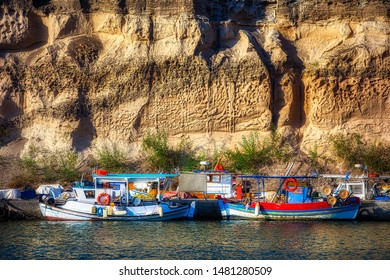 Fishing Boats Moored at the Harbor of Vlichada on the Beautiful Island of Santorini, Greece