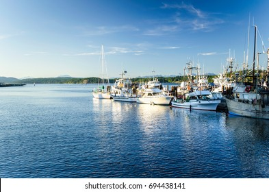 Fishing Boats Moored in Harbour at Sunset. Campbell River, BC, Canada