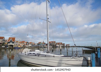 Fishing boats moored in the marina and waterfront of Volendam, Netherlands