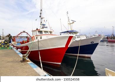 fishing boats moored in the port of Palamos (Costa Brava, Catalonia, Spain)