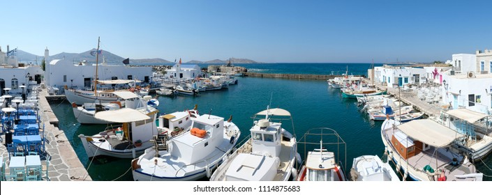Fishing boats in Naoussa port, Paros island, Cyclades, Greece
