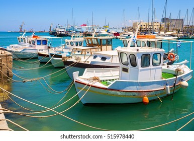 Fishing boats in the old port of Heraklion. Crete, Greece. Landmark of Greece.
