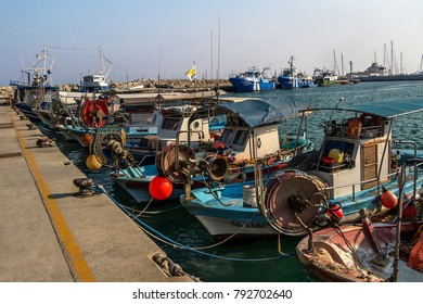 Fishing boats in Old port, Limasson, Cyprus