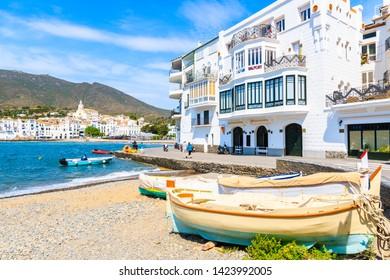 Fishing boats on beach in Cadaques white village, Costa Brava, Spain