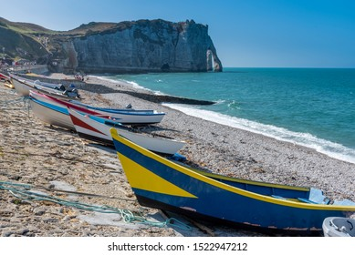Fishing boats on the beach of Etretat, Normandy, France