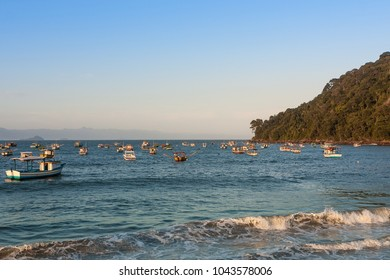 Fishing boats on the beach Perequa, Guaruja, Sao Paulo, Brazil