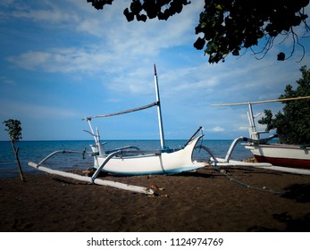 Fishing Boats On The Beach Of Seririt Village, Buleleng, North Bali