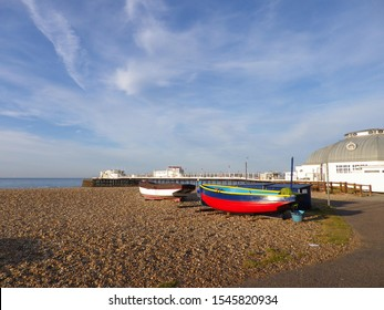 Fishing boats on the beach at Worthing near Worthing pier, June 2019.
