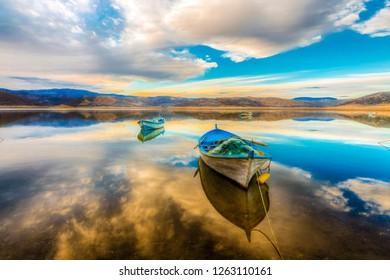 Fishing boats on Demirkopru Dam in Manisa