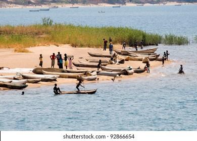 Fishing boats on Lake Malawi