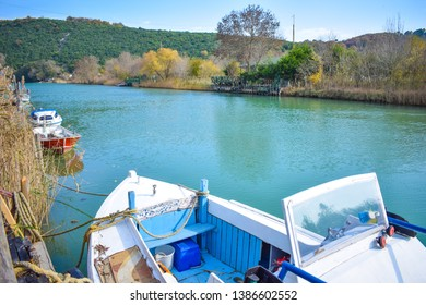 Fishing boats on the lakeside in a day of autumn season in the Goksu River, Agva, Istanbul, Turkey.
