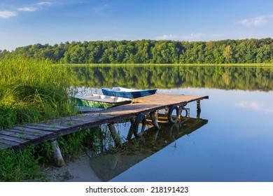 Fishing boats on the masurian lake in Poland