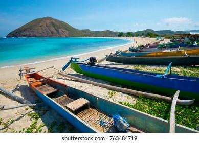 Fishing boats on Mawun beach - Lombok, Indonesia.