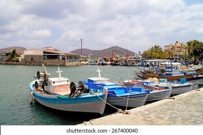 Fishing boats on the moorage in port in of Heraklion, Crete Greece