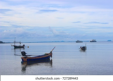 Fishing boats on the sea with blue sky background, sea Thailand.