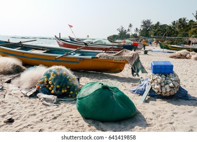 fishing boats on the sea shore. tropical landscape.