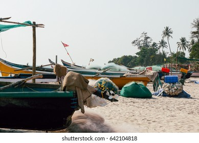 fishing boats on the sea shore. tropical landscape with bright sunlight.