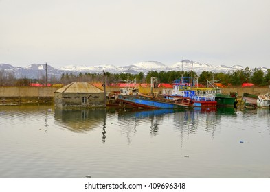 fishing boats on the shore of Lake Sevan. Armenia.