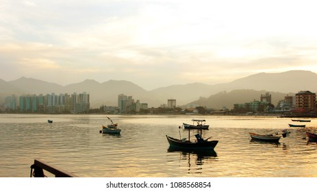 Fishing boats on the sunset of Itapema, Santa Catarina, Brazil.
