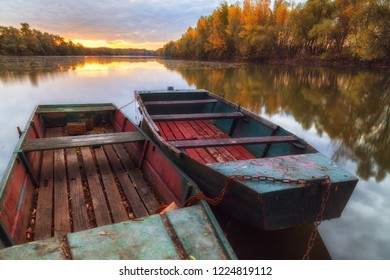 Fishing boats on Tisza river on a beautiful morning
