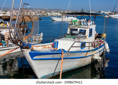 Fishing boats in Paphos Harbour Cyprus which is a popular travel destination attraction landmark of the Mediterranean island tourist resort, stock photo image