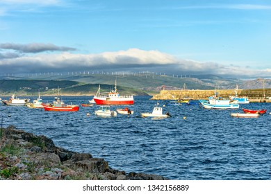 Fishing boats at the pier. Atlantic coast of Spain. Galicia. Europe.