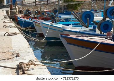 Fishing boats at the pier. Greece. Ammouliani