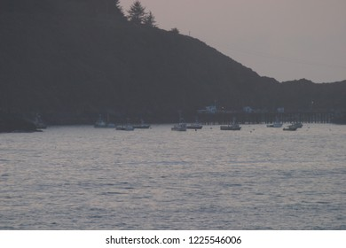 Fishing boats and pier with Trinidad Head in background, Trinidad Bay, Trinidad, California, USA