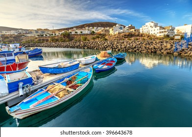 Fishing boats in port in Gran Tarajal, Fuerteventura