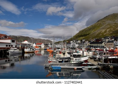 Fishing boats in the port. Honningsvag, Norway. 19th June 2018. Fore editorial use only