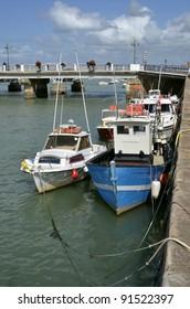 Fishing boats in the port of Saint Gilles Croix de Vie, commune in the Vendée department in the Pays de la Loire region in western France
