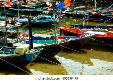 Fishing boats resting at port.
