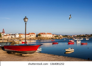 Fishing boats and seafront of Campo harbor in Arousa Island