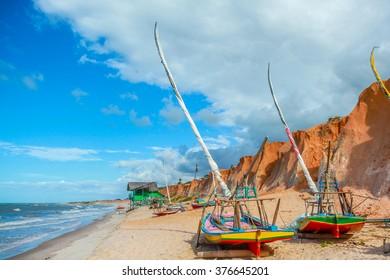 Fishing boats at shoreline in Brazil