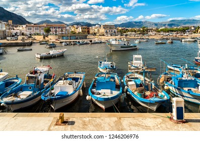 Fishing boats in the small harbor of Isola delle Femmine, province of Palermo, Sicily